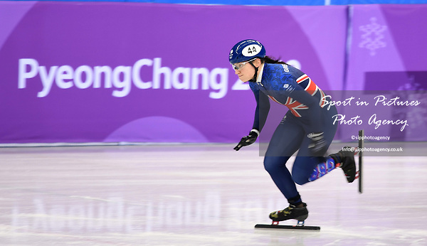 Charlotte Gilmartin (GBR) during the warm up. Short track. Gangneung ice arena. Pyeongchang2018 winter Olympics. Gangneung. Republic of Korea. 10/02/2018.