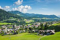 Austria, Vorarlberg, Kleinwalsertal, Riezlern: with parish church Virgin Mary Sacrifice | Oesterreich, Vorarlberg, Kleinwalsertal, Riezlern: Dorf mit Pfarrkirche Mariae Opferung