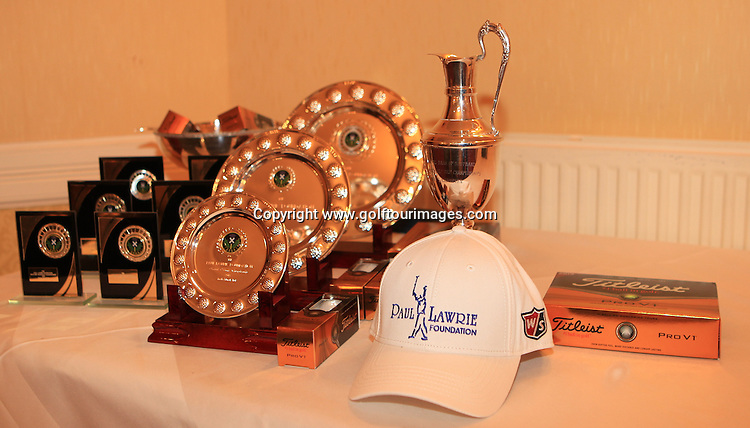 Trophies for The Paul Lawrie Foundation Scottish Schools Golf Championships played at Murrayshall House Hotel and Golf Courses on 10th June 2013: Picture Stuart Adams www.golftourimages.com: 10th June 2013