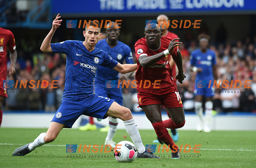 Sadio Mane of Liverpool and Jorginho of Chelsea during the Premier League match between Chelsea and Liverpool at Stamford Bridge on September 22nd 2019 in London, England. (Photo by Zed Jameson/phcimages.com)<br /> Foto PHC/Insidefoto <br /> ITALY ONLY