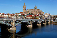 "General view of Enrique Estevan Bridge across the River Tormes, Salamanca, Spain, pictured on December 18, 2010 in the afternoon. The Cathedral is visible in the background. Salamanca, an important Spanish University city, is known as La Ciudad Dorada (""The golden city"") because of the unique golden colour of its Renaissance sandstone buildings. Founded in 1218 its University is still one of the most important in Spain. Around it the Old Town is a UNESCO World Heritage Site. Picture by Manuel Cohen"