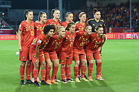 20181005 - LEUVEN , BELGIUM : Belgian team with Nicky Evrard (21)   Davina Philtjens (2)   Tine De Caigny (6)   Tessa Wullaert (9)   Aline Zeler (10)   Janice Cayman (11)   Davinia Vanmechelen (14)   Laura De Neve (18)   Julie Biesmans (20)   Laura deloose (22)   Kassandra Missipo (23)   pictured during the female soccer game between the Belgian Red Flames and Switzerland , the first leg in the semi finals play offs for qualification for the World Championship in France 2019, Friday 5 th october 2018 at OHL Stadion Den Dreef in Leuven , Belgium. PHOTO SPORTPIX.BE | DIRK VUYLSTEKE
