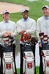 Tiger Woods, Hunter Mahan and Jim Furyk all smiles at the USA Team presentation for the 2010 Ryder Cup at the Celtic Manor Twenty Ten Course, Newport, Wales, 28th September 2010..(Picture Eoin Clarke/www.golffile.ie)
