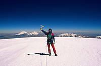 Summiting Nevado Sajama (6549 m), with Parinacota and Pomerapi in the background. Bolivia, 1999.