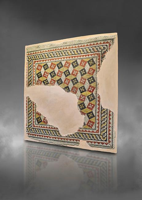 Roman mosaics - Geometric mosaic with 3d illusion. House of Oceanos, Ancient Zeugama, 2nd - 3rd century AD . Zeugma Mosaic Museum, Gaziantep, Turkey.  Against a grey background.