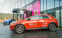 The Hague, The Netherlands, Februari 7, 2020,    Sportcampus, FedCup  Netherlands -  Balarus,  Kia cars in front of entrance<br /> Photo: Tennisimages/Henk Koster