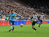 4th November 2017, St James Park, Newcastle upon Tyne, England; EPL Premier League football, Newcastle United Bournemouth; Andrew Surman of AFC Bournemouth cross is blocked by Ayoze Pérez of Newcastle United in the second half on the 0-1