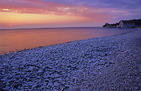 Sunset over Green Bay and Lake Michigan and the Thordarson Boat House, Rock Island State Park, Door County, Wisconsin