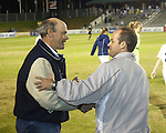 UNC coach Bill Palladino (left) shakes hands with Courage head coach Jay Entlich at SAS Stadium in Cary, North Carolina on 3/22/03 after a game between the Carolina Courage and University of North Carolina Tarheels.
