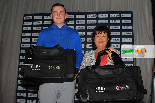 Sean Kestell and Annette Lynch from Charlesland Golf Club are the winners of the Dubai Duty Free Irish Open Pro-Am Qualifying Competition FINAL at The K Club, Straffan,  Co Kildare. 9/05/2016.<br /> The European Tour and Dubai Duty Free gave golf clubs around the island of Ireland the chance to play with international golf superstars and world famous celebrities in the Dubai Duty Free Irish Open Pro-Am hosted by the Rory Foundation and first qualifier was at Rockmount Golf Course on April 11. There will be a further four regional qualifiers between now and late April and the winners of each regional qualifier will then go forward to compete in the All-Ireland Final, to be held on the Smurfit Course at The K Club in early May.<br /> <br /> The winner of the final round will receive a team invitation for the Dubai Duty Free Irish Open Pro-Am. This initiative is part of Europe&rsquo;s Race to Dubai Champion Rory McIlroy&rsquo;s five-point plan to drum up support for the Dubai Duty Free Irish Open from Ireland&rsquo;s 420 golf clubs, as well as helping to further develop the game of golf in Ireland. For more information on the 2016 Dubai Duty Free Irish Open hosted by the Rory Foundation or to purchase tickets www.dubaidutyfreeirishopen.com.<br /> Picture: Golffile | Thos Caffrey<br /> <br /> <br /> All photo usage must carry mandatory copyright credit (&copy; Golffile | Thos Caffrey)