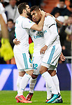 Real Madrid's Nacho Fernandez, Marcelo Vieira and Carlos Henrique Casemiro celebrate goal during La Liga match. November 5,2017. (ALTERPHOTOS/Acero)