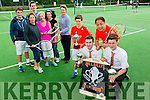 Front l-r Jack Costello, Eoin Sullivan, Chris Sun (Owner of Hillbilly's) and Sam Boyle .Back l-r  Jack Stack, Sheila O'Sullivan, Nigel Williams, Roberta Kneeshaw ,Triona Daly and Emma Morrissey at the Hillbilly's Junior Senior Tournament and Family Fun Day at Tralee Tennis Club on Saturday