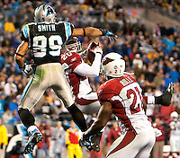 Carolina Panthers wide receiver Steve Smith (89) tries to break up an interception by Arizona Cardinals defensive back Ralph Brown (20) during the NFC Divisional Playoff football game at Bank of America Stadium, in Charlotte, NC. Arizona defeated the Carolina Panthers 33-13.