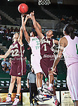 North Texas Mean Green guard Denetra Kellum (32), University of Louisiana at Monroe Warhawks forward Marion Zollicoffer (1) and University of Louisiana at Monroe Warhawks guard Jasmine Shaw (22) in action during the NCAA Women's basketball game between the University of Louisiana at Monroe Warhawks and the University of North Texas Mean Green at the North Texas Coliseum,the Super Pit, in Denton, Texas. ULM defeated UNT 50 to 47.