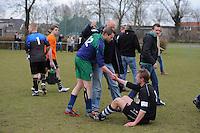 VOETBAL: ALDEBOARN:  14-04-2013, Eredivisie 2012-2013, Oldeboorn - Aengwirden, degradatiewedstrijd 4e klasse A, Eindstand 2-3, Hessel de Graaf Aengwirden (#12), Wietse Huisman (#3)  ©foto Martin de Jong