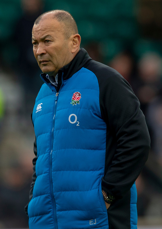 England's Head Coach Eddie Jones<br /> <br /> Photographer Bob Bradford/CameraSport<br /> <br /> Guinness Six Nations Championship - England v France - Sunday 10th February 2019 - Twickenham Stadium - London<br /> <br /> World Copyright &copy; 2019 CameraSport. All rights reserved. 43 Linden Ave. Countesthorpe. Leicester. England. LE8 5PG - Tel: +44 (0) 116 277 4147 - admin@camerasport.com - www.camerasport.com