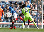 05.05.2019 Rangers v Hibs: Steven Davis loses a shoe in a tackle with Stephane Omeonga