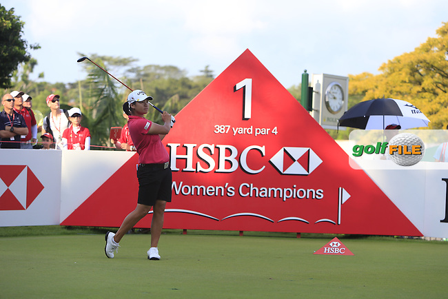 Yani Tseng (TWA) on the 1st tee during Round 4 of the HSBC Women's Champions at the Sentosa Golf Club, The Serapong Course in Singapore on Sunday 8th March 2015.<br /> Picture:  Thos Caffrey / www.golffile.ie