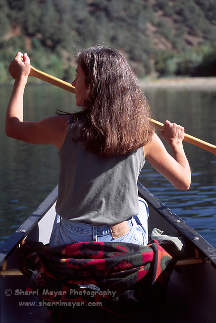 Woman canoeing on Lake Clementine
