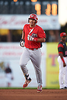 Williamsport Crosscutters first baseman Darick Hall (46) runs the bases after hitting a home run during a game against the Batavia Muckdogs on September 2, 2016 at Dwyer Stadium in Batavia, New York.  Williamsport defeated Batavia 9-1. (Mike Janes/Four Seam Images)