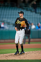 Salt Lake Bees starting pitcher Griffin Canning (17) delivers a pitch to the plate against the Sacramento River Cats at Smith's Ballpark on April 12, 2019 in Salt Lake City, Utah. The River Cats defeated the Bees 4-2. (Stephen Smith/Four Seam Images)