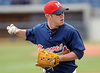 13 April 2008: Outfielder Matt Young (6) of the Mississippi Braves, Class AA affiliate of the Atlanta Braves, in a game against the Mobile BayBears at Trustmark Park in Pearl, Miss. Photo by:  Tom Priddy/Four Seam Images