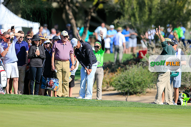 Hideki Matsuyama (JPN) on the 4th during the 2nd round of the Waste Management Phoenix Open, TPC Scottsdale, Scottsdale, Arisona, USA. 01/02/2019.<br /> Picture Fran Caffrey / Golffile.ie<br /> <br /> All photo usage must carry mandatory copyright credit (&copy; Golffile | Fran Caffrey)