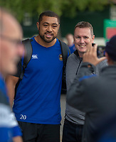 Bath Rugby's Taulupe Faletau poses with a fan<br /> <br /> Photographer Bob Bradford/CameraSport<br /> <br /> Gallagher Premiership - Bath Rugby v Gloucester Rugby - Saturday September 8th 2018 - The Recreation Ground - Bath<br /> <br /> World Copyright © 2018 CameraSport. All rights reserved. 43 Linden Ave. Countesthorpe. Leicester. England. LE8 5PG - Tel: +44 (0) 116 277 4147 - admin@camerasport.com - www.camerasport.com