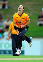 Firebirds bowler Andy McKay shows his frustration. HRV Cup Twenty20 cricket - Northern Knights v Wellington Firebirds at Seddon Park, Hamilton on Tuesday, 21 December 2010. Photo: Dave Lintott / lintottphoto.co.nz