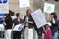 Nurses and hospital workers demonstrate against excessive work load, May 11, 2003 in Montreal, CANADA<br /> Copyright  : 2003 Images Distribution