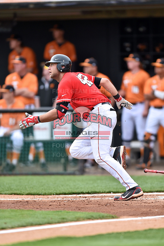 Georgia Bulldogs third baseman Trevor Kieboom (42) runs to first during a game against the Tennessee Volunteers at Lindsey Nelson Stadium March 21, 2015 in Knoxville, Tennessee. The Bulldogs defeated the Volunteers 12-7. (Tony Farlow/Four Seam Images)