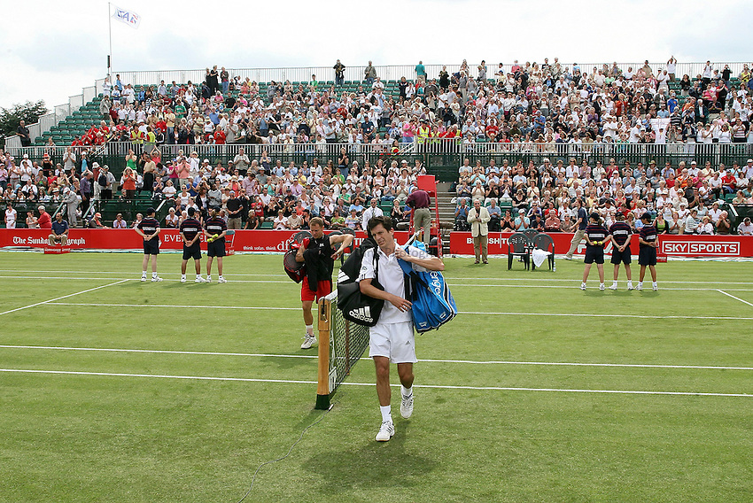 Photo: Paul Thomas..The Nottingham Open. ATP Tour 2007. 19/06/2007. ..Tim Henman of the UK walks off after his win over Michael Russell.