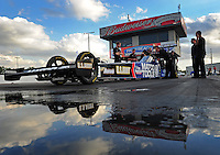 Jan. 18, 2012; Jupiter, FL, USA: NHRA top fuel dragster driver Antron Brown during testing at the PRO Winter Warmup at Palm Beach International Raceway. Mandatory Credit: Mark J. Rebilas-