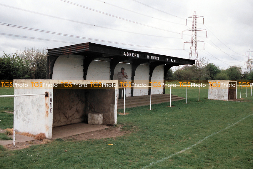 General view of Askern Miners Welfare FC Football Ground, The Welfare Ground, Askern, Doncaster, South Yorkshire, pictured on 17th April 1995