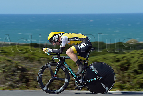 19.02.2016. Sagres, Portual.  CAMPENAERTS Victor (BEL) Rider of TEAM LOTTO NL - JUMBO in action during stage 3 of the 42nd Tour of Algarve cycling race, an individual time trial of 18km, with start and finish in Sagres on February 19, 2016 in Sagres, Portugal.