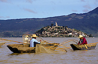 Lake Pátzcuaro (Spanish: Lago de Pátzcuaro) is a lake in the municipality of Pátzcuaro, Michoacán, Mexico..The natives believe that the lake is the place where the barrier between life and death is the thinnest..Lake Pátzcuaro lies in an endorheic basin, which does not drain to the sea. A watershed area of 929 square kilometers drains into the lake, of which 126.4 are the water body. The Lake Pátzcuaro watershed extends 50 kilometers east-west and 33 kilometers from north to south. Lake Patzcuaro lies at an elevation of 1,920 meters, and is the center of the basin and is surrounded by volcanic mountains with very steep slopes. It has an average depth of 5 meters and a maximum of 11. Its volume is approximately 580 million cubic meters.[1].The Lake Pátzcuaro basin is of volcanic origin. At times it has been part of an open and continuous hydrological system formed by Lake Cuitzeo, Pátzcuaro and Lake Zirahuén, which drained into the Lerma River. Today, like lakes Cuitzeo and Zirahuén, it is a closed basin, although ecologists consider it a sub-basin of the Lerma-Chapala basin.[2]