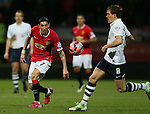 Angel Di Maria of Manchester United attempts to feed the ball through - FA Cup Fifth Round - Preston North End  vs Manchester Utd  - Deepdale Stadium - Preston - England - 16th February 2015 - Picture Simon Bellis/Sportimage