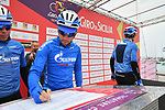 Gazprom-Rusvelo at sign on before the start of Stage 2 of Il Giro di Sicilia running 236km from Capo d'Orlando to Palermo, Italy. 4th April 2019.<br /> Picture: LaPresse/Massimo Paolone | Cyclefile<br /> <br /> <br /> All photos usage must carry mandatory copyright credit (&copy; Cyclefile | LaPresse/Massimo Paolone)
