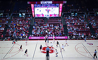 STANFORD, CA - November 4, 2018: Audriana Fitzmorris, Morgan Hentz, Holly Campbell, Meghan McClure, Jenna Gray, Kathryn Plummer at Maples Pavilion. No. 2 Stanford Cardinal defeated the Utah Utes 3-0.