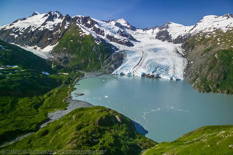 Aerial of Portage glacier and Portage lake, Chugach mountains, southcentral, Alaska