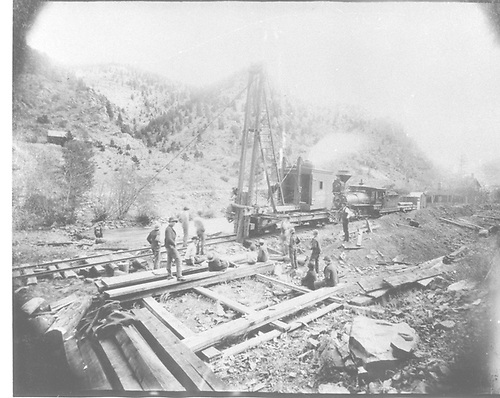 Pile driver at work with UP 2-6-0 #150 for power - formerly Colorado Central #150 and UPD&amp;G #150.<br /> Perhaps UPD&amp;G