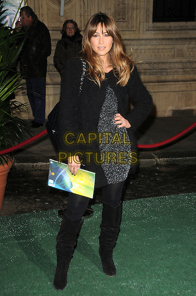 RACHEL STEVENS.Arrivals at Cirque du Soleil's Varekai gala opening night at the Royal Albert Hall, London, England. .January 5th, 2009.full length  black grey gray coat jacket dress silver  boots hand on hip.CAP/CAS.©Bob Cass/Capital Pictures.