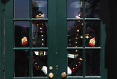 Marines hold the door of the residence before the arrival of Prime Minister Benjamin Netanyahu and Sara Netanyahu of Israel at the White House in Washington, DC, March 5, 2018.  <br /> Credit: Olivier Douliery / Pool via CNP