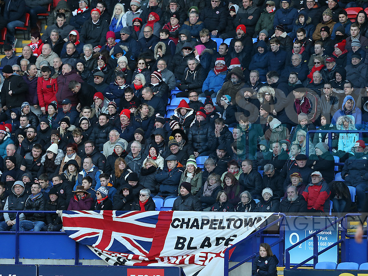 Travelling fans during the FA Cup Second round match at the Macron Stadium, Bolton. Picture date: December 4th, 2016. Pic Simon Bellis/Sportimage