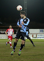 Joe Jacobson of Wycombe Wanderers <br /> <br /> during the Sky Bet League 2 match between Accrington Stanley and Wycombe Wanderers at the Wham Stadium, Accrington, England on 16 March 2016. Photo by Tony (KIPAX) Greenwood / PRiME Media Images.