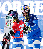 18th March 2018, Winterberg, Germany;  Snowboard World Cup, team parallel slalom. Roland Fischnaller and Nadya Ochner (Italy) celebrate their win.