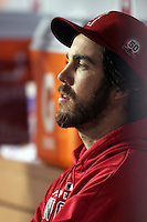 Dan Haren #24 of the Los Angeles Angels on the bench during game against the Cleveland Indians at Angel Stadium in Anaheim,California on April 11, 2011. Photo by Larry Goren/Four Seam Images