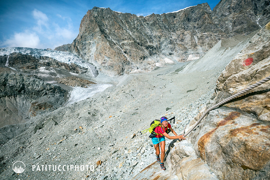 The Chamonix to Zermatt Glacier Haute Route. In late August 2017, we ran the tour in mountain running gear, running shoes, and all the necessary glacier travel and crevasse rescue gear. On the last day, to get out of glacier trrain and back on to smooth running trails, a small section of steeprock must be climbed with cables to reach the Schönbiel Hut.