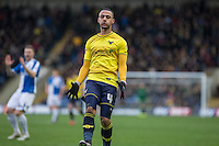 Kemar Roofe of Oxford United shows his frustration during the Sky Bet League 2 match between Oxford United and Bristol Rovers at the Kassam Stadium, Oxford, England on 17 January 2016. Photo by Andy Rowland / PRiME Media Images.