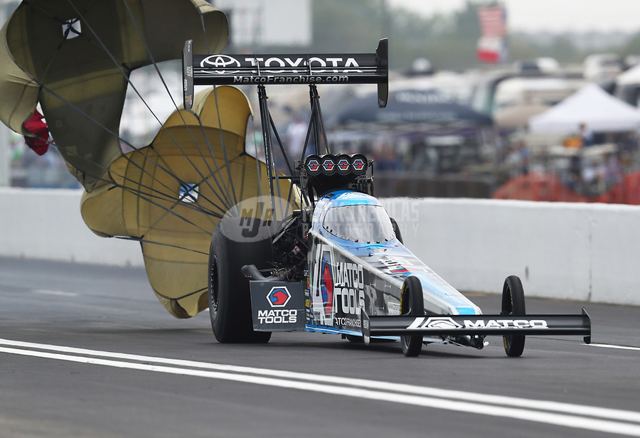 Apr 13, 2019; Baytown, TX, USA; NHRA top fuel driver Antron Brown during qualifying for the Springnationals at Houston Raceway Park. Mandatory Credit: Mark J. Rebilas-USA TODAY Sports